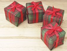 Gift Set On Wood Royalty Free Stock Images