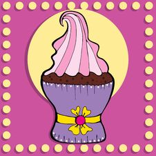 Free Simple Figure Cupcake In Vintage Style Royalty Free Stock Photo - 36178885