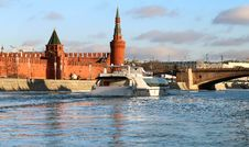 River Landscape With Kremlin Towers In Moscow Stock Image