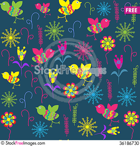 Free Cute Seamless Pattern With Cartoon Bird And Flower Stock Photo - 36186730