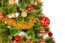 Free Decorated Christmas Tree On White Background Royalty Free Stock Photo - 36183375