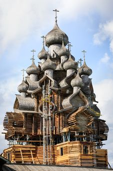 Free Wooden Church At Kizhi Under Reconstruction Stock Photo - 36184740
