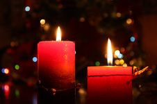 Two Candles With Bokeh Stock Images