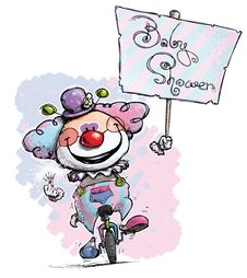 Clown On Unicycle Holding A Baby Shower Placard Stock Photo