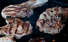 Free Pork Chops On Grill Stock Image - 36189311