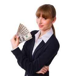 Free Business Woman Holding Cash Dollars Stock Images - 36189334