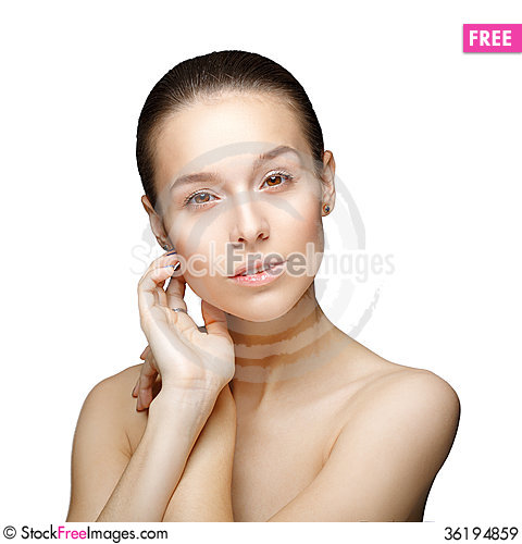 Free Beauty Portrait. Beautiful Woman Touching Her Face. Royalty Free Stock Images - 36194859
