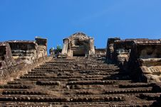 Free Very High Stairs In Angor Wat Temple In Cambodia Royalty Free Stock Photo - 36190275