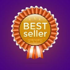 Vector Best Seller Gold Sign, Label Template Royalty Free Stock Image