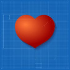 Free Heart Symbol Like Blueprint Drawing. Stock Images - 36190824