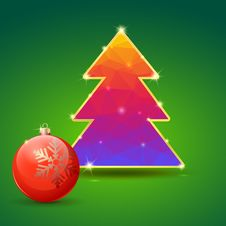 Christmas Tree And Ball On Green Background Stock Image