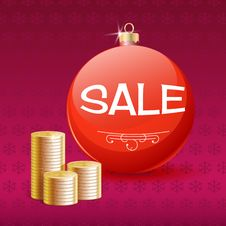 Gold Coins And Christmas Sale Ball. Stock Photography
