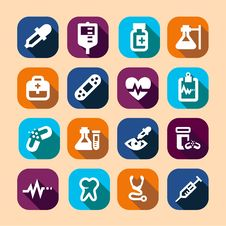 Free Medical Long Shadow Icons Royalty Free Stock Photography - 36193297
