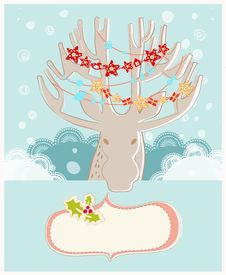 Free Christmas Reindeer New Year Greeting Card Stock Photography - 36198992