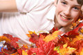 Free Young Boy In Fall Leaves Stock Image - 3625271