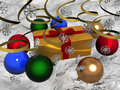 Free Multi-coloured Christmas Balls With Gift On Snow Royalty Free Stock Photo - 3627305