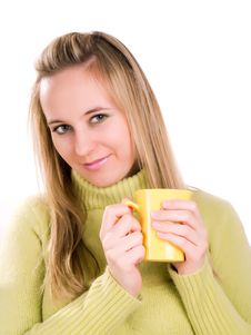 Free Woman Sitting Down With A Cup Of Tea Stock Photos - 3620643
