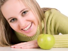 Free Smilling Student And Green Apple Royalty Free Stock Photos - 3620868