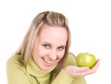 Free Beautiful Girl With Apple Stock Image - 3620951