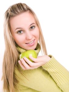 Free Woman With Apple In Her Hand Royalty Free Stock Image - 3620996