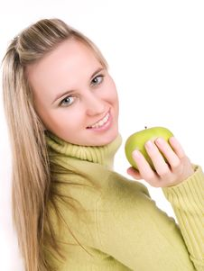 Free Woman With Apple In Her Hand Royalty Free Stock Photos - 3621008