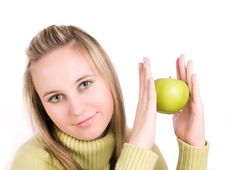 Free Girl With Green Apple Stock Images - 3621044