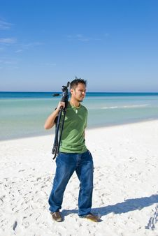 Photographer On The Beach Royalty Free Stock Photo