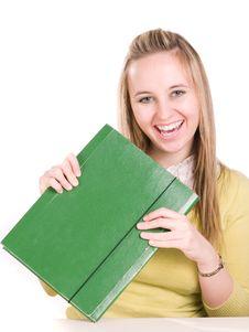 Free Happines Girl Holding Folder Stock Image - 3621161