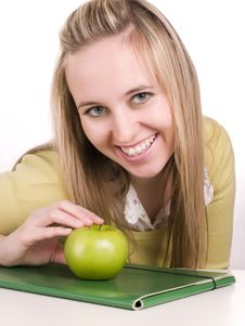Free Student With Green Folder And Apple Royalty Free Stock Photo - 3621205