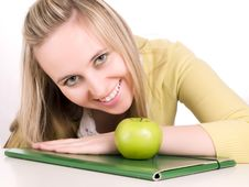 Free Smilling Student With Green Folder And Apple Stock Images - 3621214