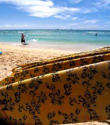 Free Surfboard On Waikiki Beach Stock Photo - 3621330