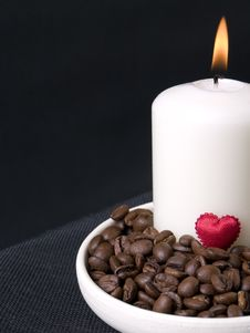 Candle, Coffee Beans And Red Hearts Stock Images