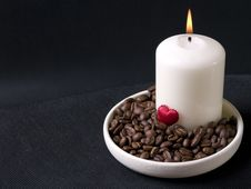 Candle, Coffee Beans And Red Hearts Royalty Free Stock Images