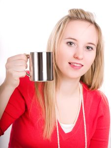 A Beautiful Young Woman Drinking A Hot Cup Of Coff Royalty Free Stock Images