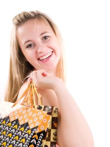 Free Smilling Shopping Girl Stock Photo - 3621880