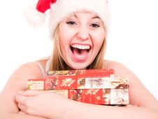 Free Smilling Woman Wearing A Santa Hat Royalty Free Stock Photos - 3622008