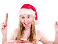 Girl And Christmas Presents Royalty Free Stock Images