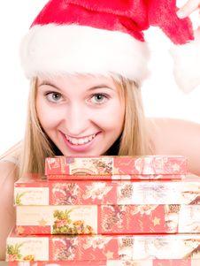Woman And Christmas Presents. Stock Photos