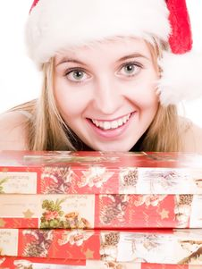 Free Smilling Girl And Gifts. Stock Photos - 3622183