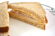 Isolated  Turkey Sandwich On Whole Grain Bread Stock Images