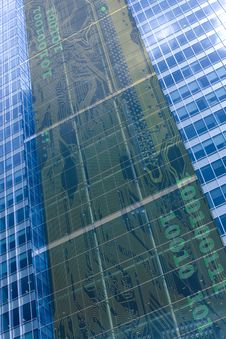 Free Glass Office Tower With Electronic Circuit Stock Images - 3623904