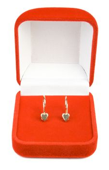 Earrings In Red Box. Royalty Free Stock Photography