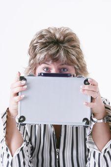 Woman Holding Metal Case Stock Photos