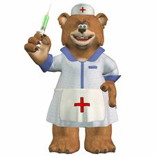 Free Female Nurse Bear With A Syringe Royalty Free Stock Photo - 3624905