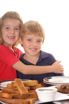 Free Happy Children At Breakfast Stock Image - 3625441
