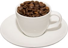 Cup With Coffeebeans Royalty Free Stock Photo