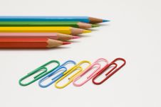 Colored Pencils And Clips Stock Photos