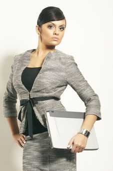 Free Brunet Business Woman With Laptop Stock Photo - 3628770