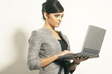 Free Brunet Business Woman With Laptop Stock Image - 3628821