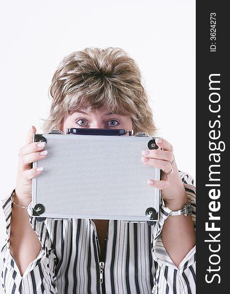 Woman holding metal case